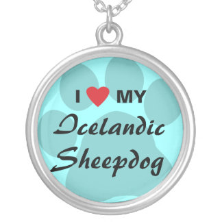 Amo (Haert) mi perro pastor islandés Colgante Redondo