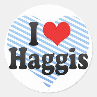 Amo Haggis Pegatina Redonda