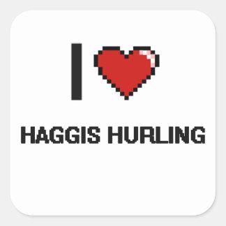 Amo Haggis que lanza el diseño retro de Digitaces Pegatina Cuadrada