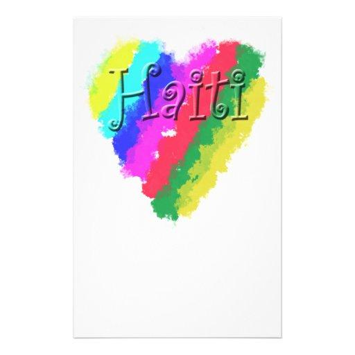 Amo Haití, corazón en colores pastel de la tiza de Papeleria Personalizada
