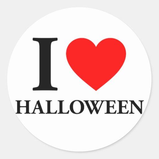 Amo Halloween Etiquetas Redondas