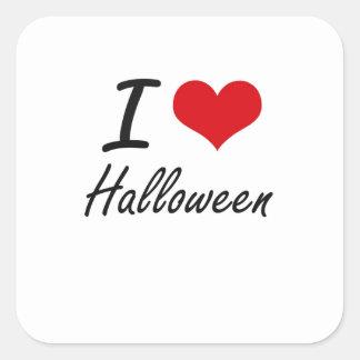 Amo Halloween Pegatina Cuadrada