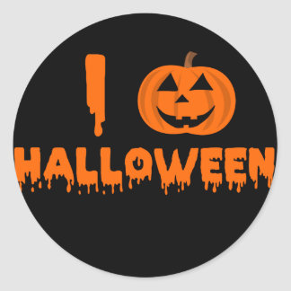 Amo Halloween redondeo al pegatina