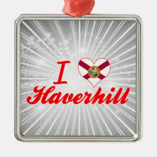 Amo Haverhill, la Florida Adorno Cuadrado Plateado