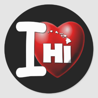 Amo Hawaii - corazón Hawaii de I Pegatina Redonda