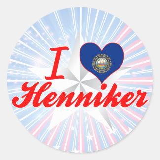 Amo Henniker, New Hampshire Pegatina Redonda