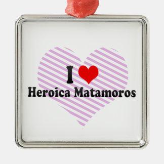Amo Heroica Matamoros, México Adorno Cuadrado Plateado
