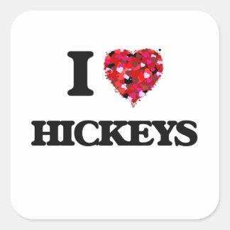 Amo Hickeys Pegatina Cuadrada