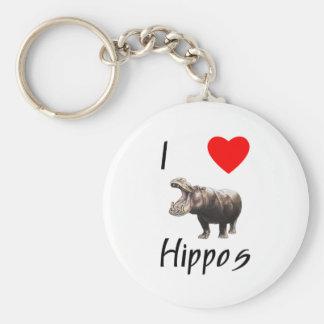 Amo hipopótamos 2 llaveros personalizados