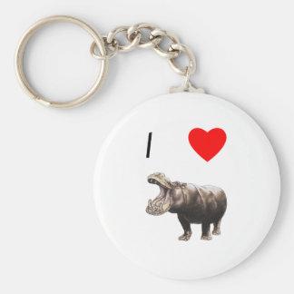 Amo hipopótamos 4 llaveros personalizados