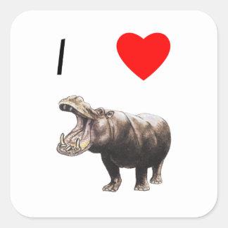 Amo hipopótamos (4) pegatinas cuadradas