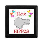 Amo hipopótamos caja de recuerdo