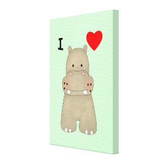Amo hipopótamos impresión en lona estirada