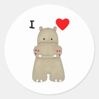 Amo hipopótamos etiquetas redondas