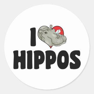 Amo hipopótamos pegatinas redondas