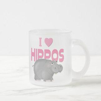 Amo hipopótamos taza de cristal