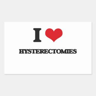 Amo histerectomias pegatina rectangular