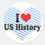 Amo historia de los E.E.U.U. Pegatina Redonda