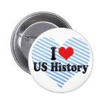 Amo historia de los E.E.U.U. Pins