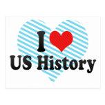 Amo historia de los E.E.U.U. Tarjeta Postal