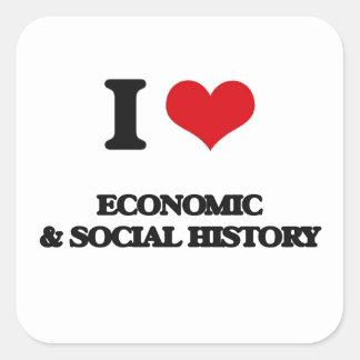 Amo historia económica y social pegatina cuadrada