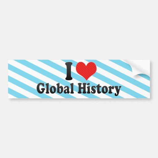Amo historia global etiqueta de parachoque