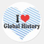 Amo historia global pegatinas redondas