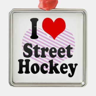 Amo hockey de la calle adorno cuadrado plateado