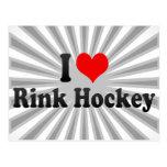 Amo hockey de la pista tarjetas postales