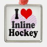 Amo hockey en línea ornamentos de reyes