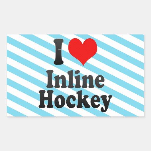 Amo hockey en línea rectangular pegatina