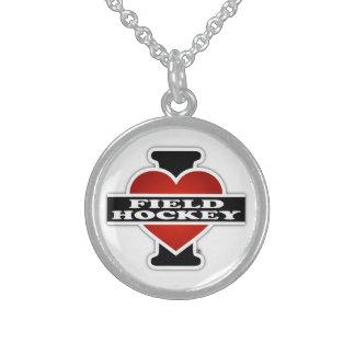Amo hockey hierba collares de plata esterlina