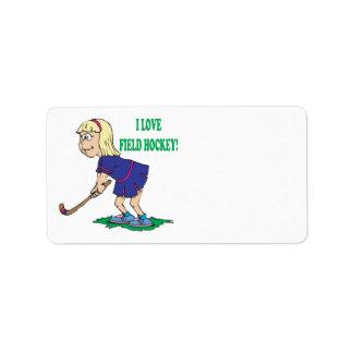 Amo hockey hierba etiqueta de dirección