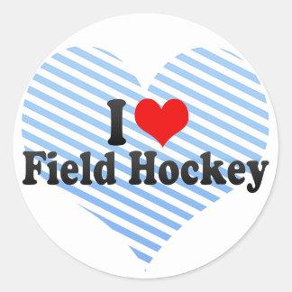 Amo hockey hierba pegatina redonda
