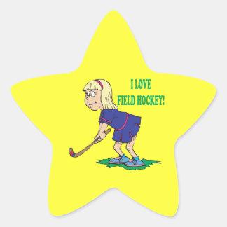 Amo hockey hierba pegatina en forma de estrella
