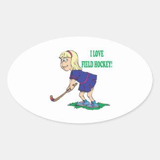 Amo hockey hierba pegatinas óval personalizadas