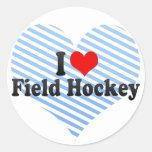 Amo hockey hierba pegatinas redondas