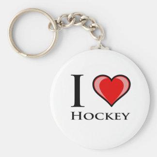 Amo hockey llavero redondo tipo pin