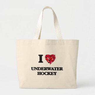 Amo hockey subacuático bolsa de tela grande