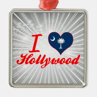 Amo Hollywood, Carolina del Sur Adorno Cuadrado Plateado