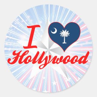 Amo Hollywood, Carolina del Sur Pegatina Redonda