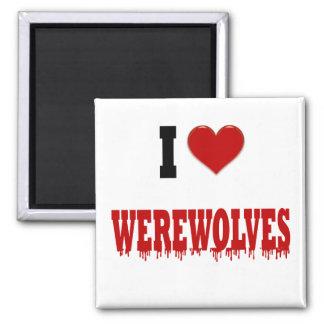 Amo hombres lobos imán de frigorifico