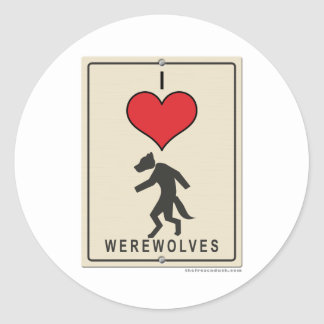 Amo hombres lobos pegatina