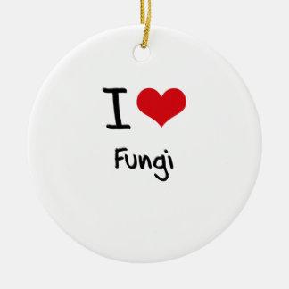 Amo hongos adorno redondo de cerámica