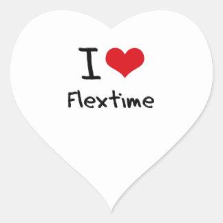 Amo horario flexible pegatina en forma de corazón