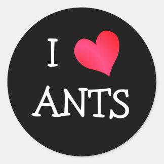Amo hormigas pegatina redonda