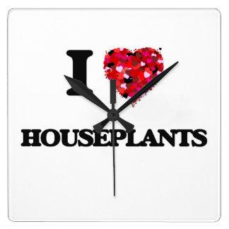 Amo Houseplants Reloj Cuadrado