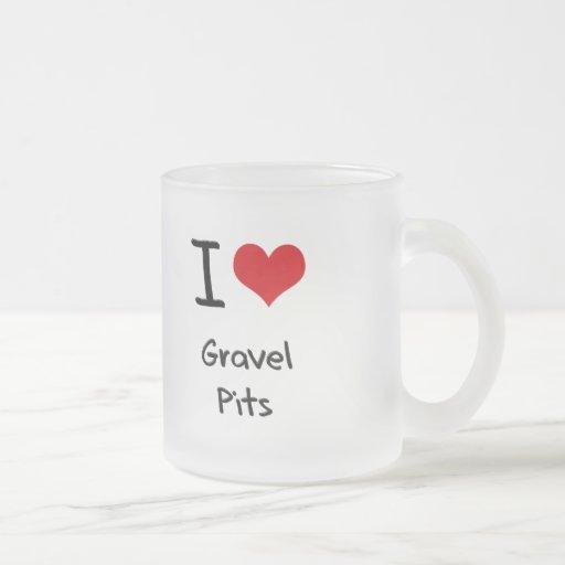 Amo hoyos de grava taza de café
