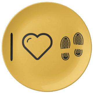 Amo huellas del zapato plato de cerámica