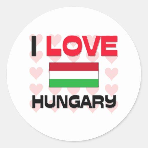 Amo Hungría Etiqueta Redonda